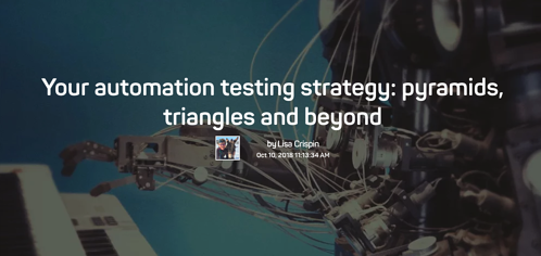 The words your automation testing strategy: pyramids, triangles and beyond, over an image of a robotic arm playing a keyboard.