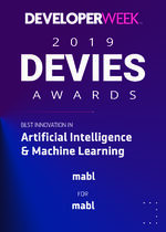 The words developer week 2019 Devies awards best innovation in artificial intelligence and machine learning mabl.