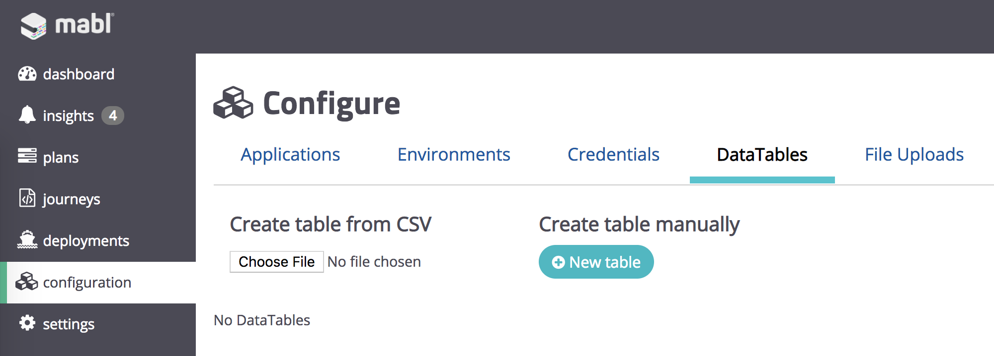 Create New Data Table