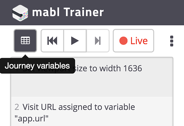 Add Journey Variables from the mabl Trainer