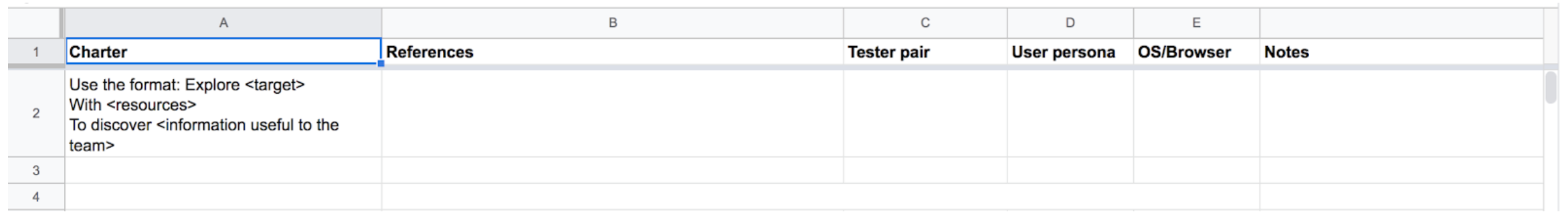A screenshot showing a section about the exploratory testing charters and a link to a spreadsheet for them.