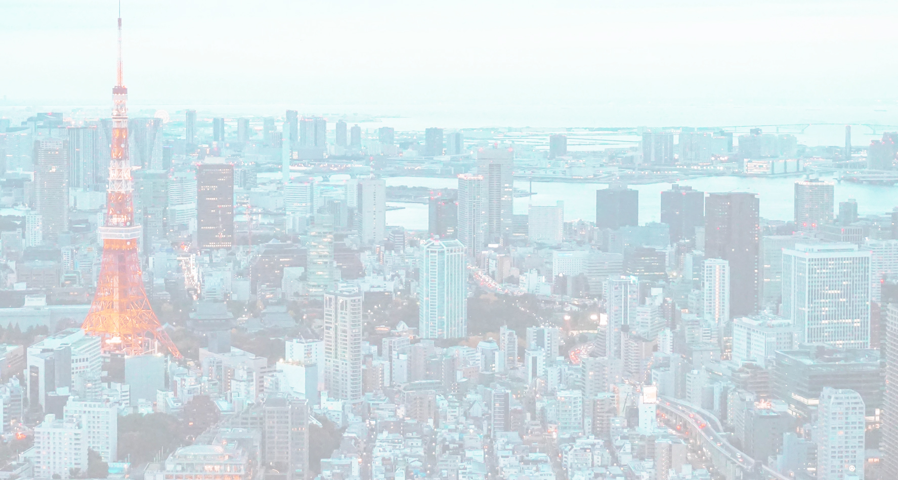 A faded out photo of Tokyo showing skyscrapers, a highway, a river and many other buildings.