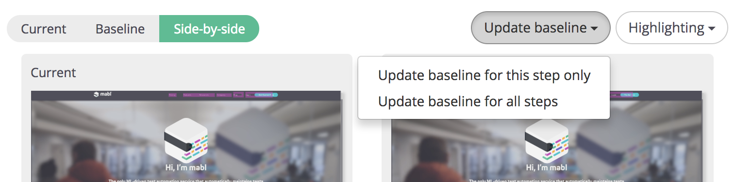 A screenshot showing that Update Baseline button, which will let you update the visual baseline of your app.
