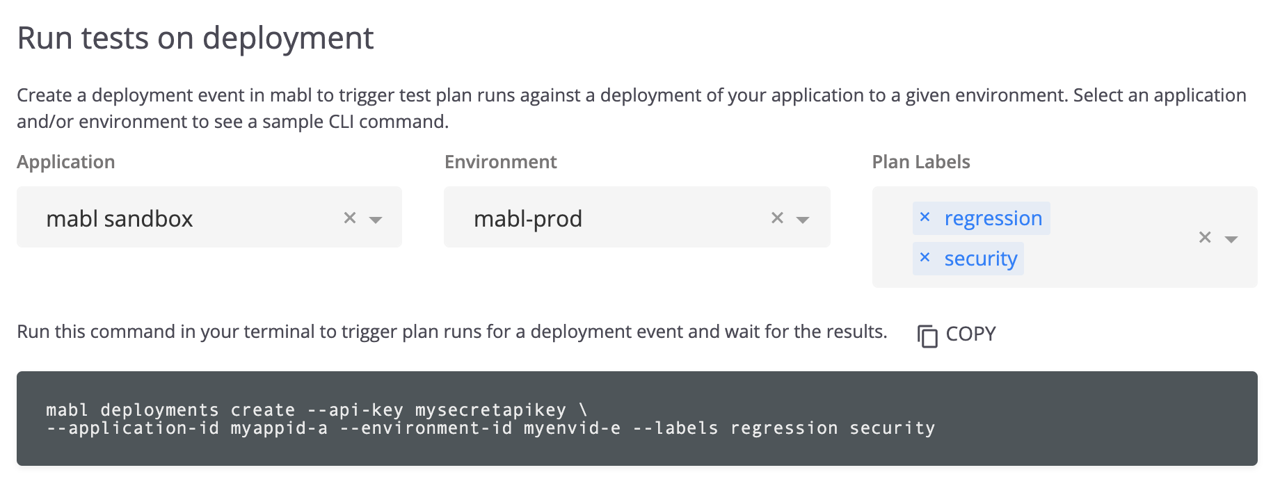A screenshot showing how you can use the CLI to run mabl tests on deployment.