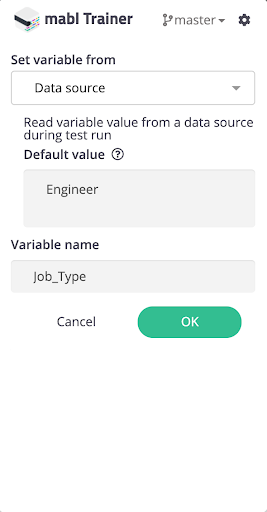"A screenshot showing how to create a new variable, ""Job_Type"", which you can set via a new data source."