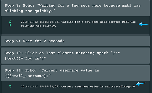 A screenshot showing how to debug failed journeys by letting the reader track the state of variables at key points.
