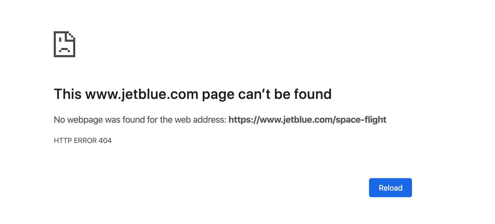 A screenshot showing a broken link to a Jet Blue page.
