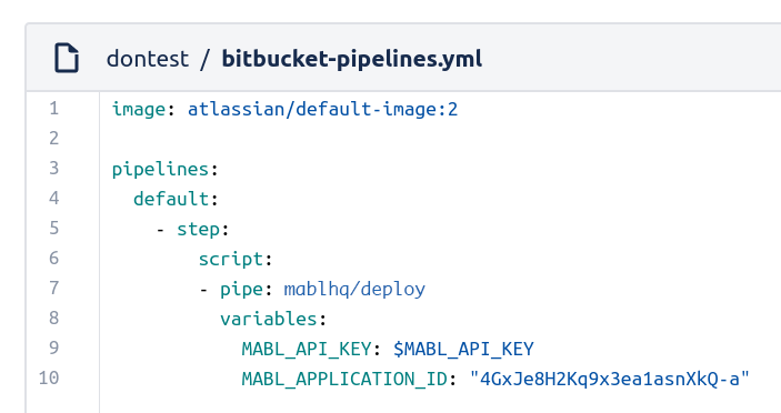 Bitbucket Pipeline .yml file