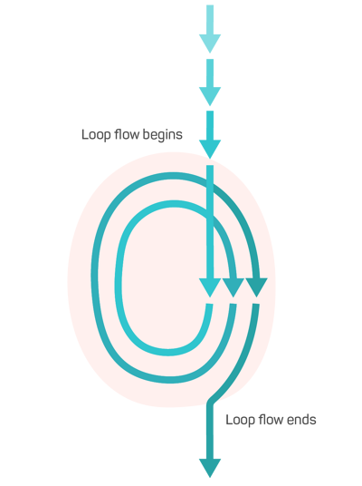 Teal arrows looping around twice and then straightening again; labeled with Loop flow begins and Loop flow ends.