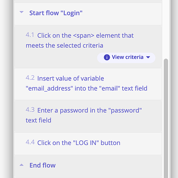 A screenshot showing how you can create a login flow and reuse that in each of the tests.