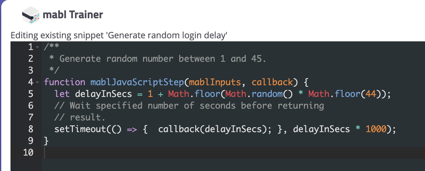 A screenshot showing how to write functions using mabl's JavaScript snippet feature and executing them as steps.