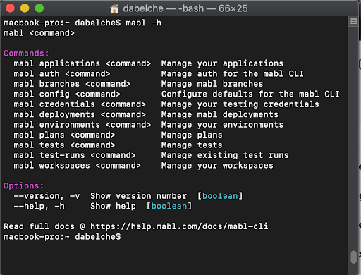 A screenshot of the mabl CLI which is very easy to use and includes many features that aren't available in the mabl web app.