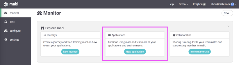 A screenshot showing 3 options in the mabl dashboard and how to create a new application.
