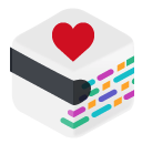 A box with multicolored lines on one side, a thick black line on the other, and a heart on top.