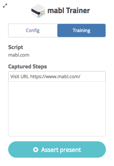 A screenshot of mabl Trainer with the first assertion type.
