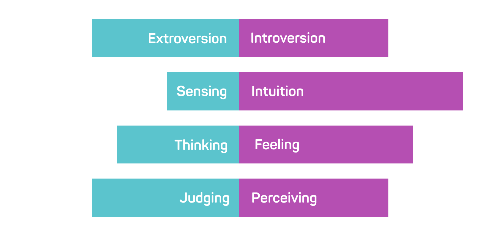 A Meyers Briggs personality chart showing where someone falls in each area of personality.