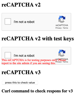test page for reCAPTCHA
