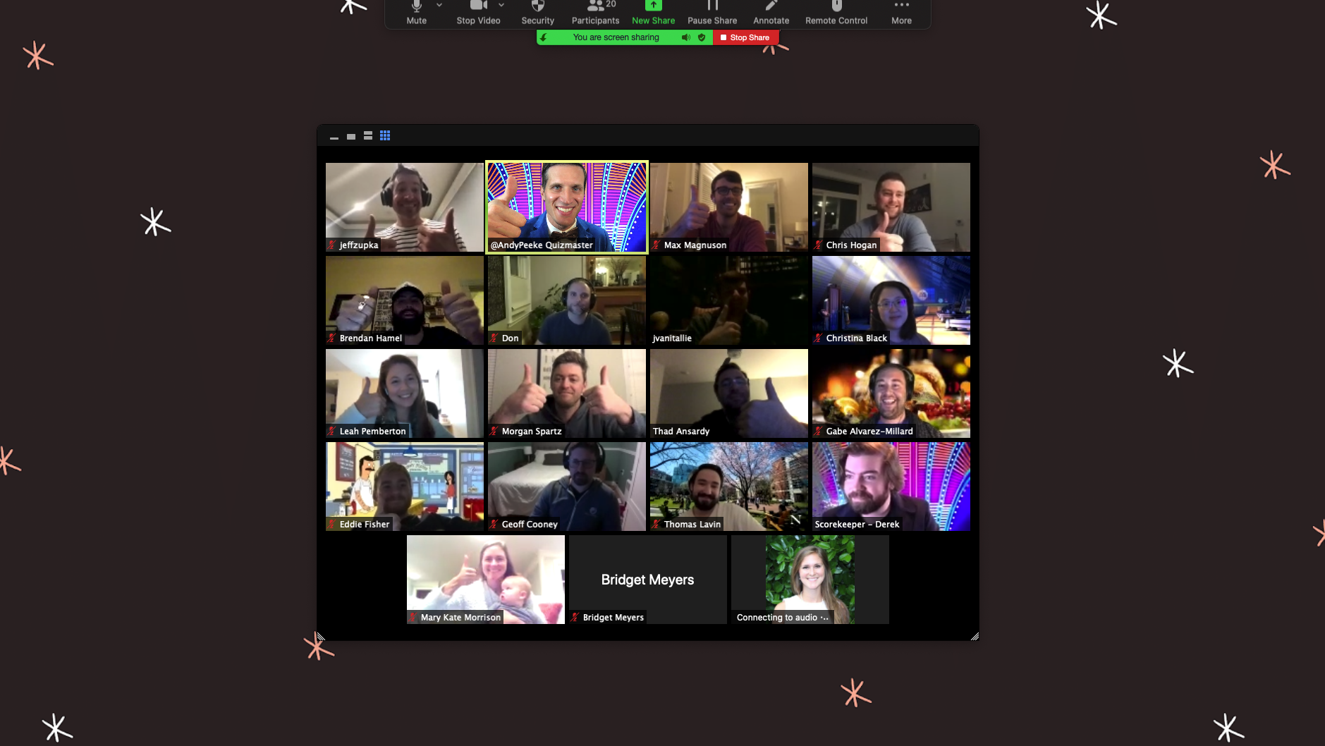 A screenshot of a zoom meeting with 19 participants.