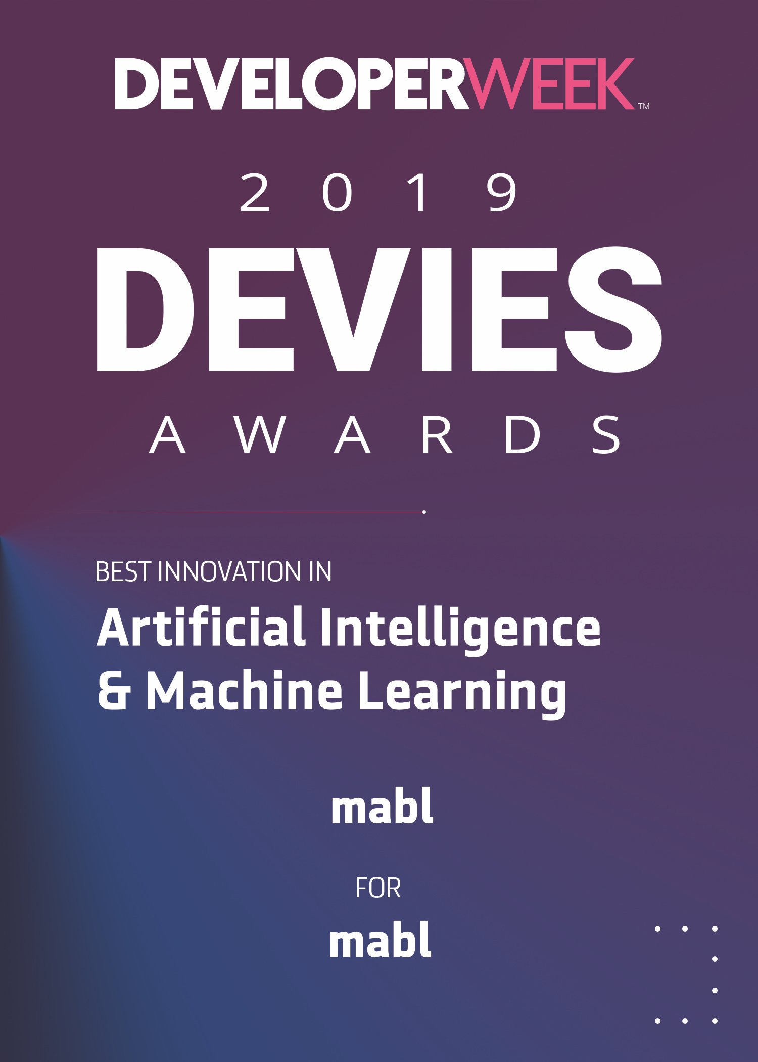 mabl Wins 2019 DEVIES Award for Best Innovation in AI & ML