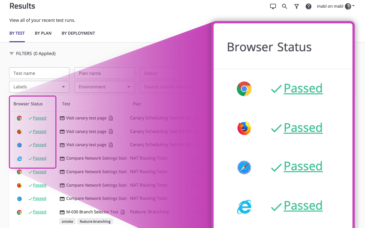 Platform Results Page Showing Different Browser Statuses