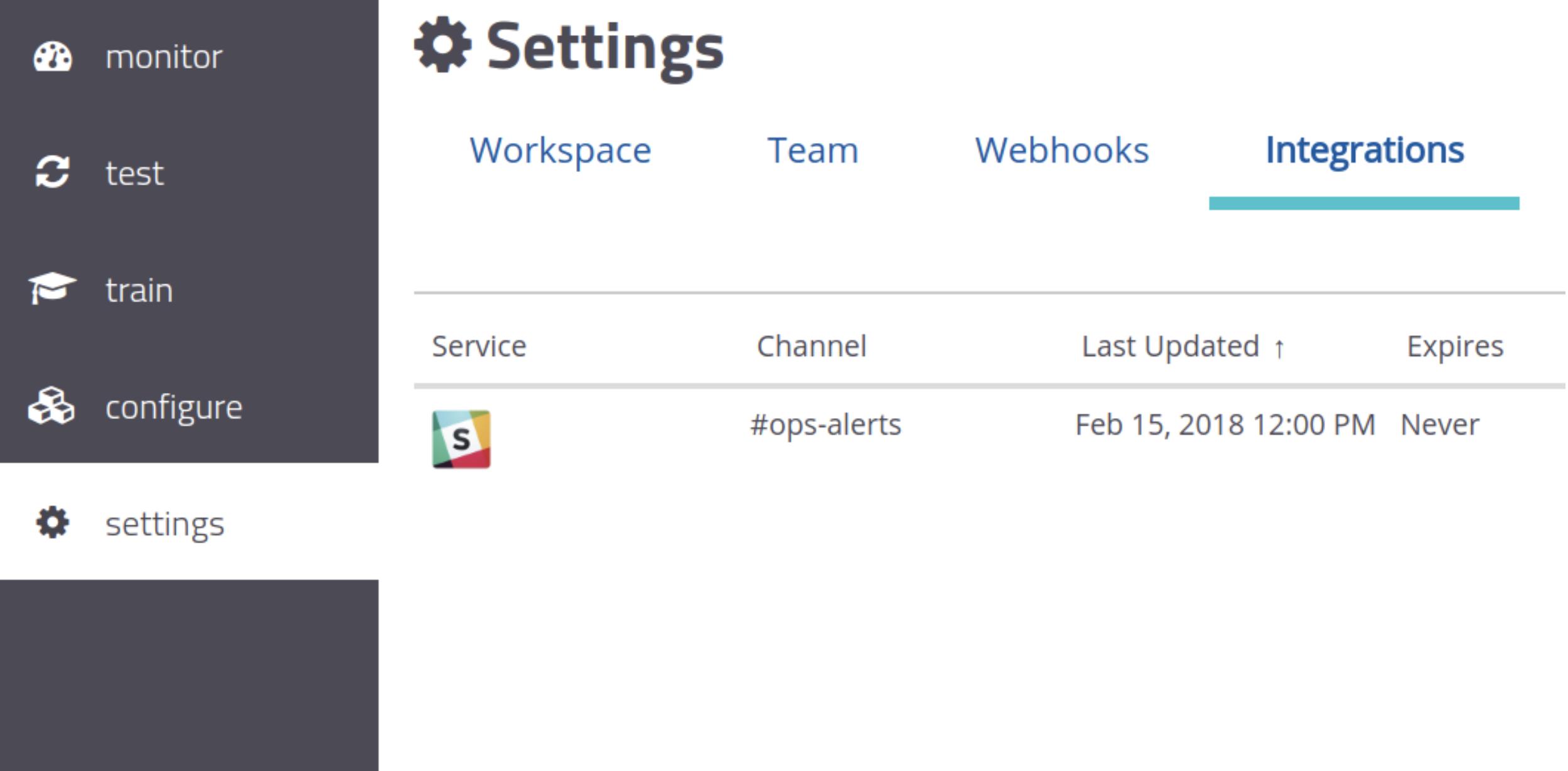 A screenshot showing Slack integration on mabl.