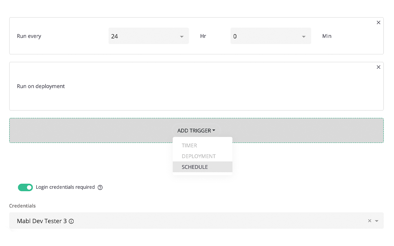 Scheduling a Regression Suite with mabl